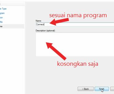 mengisi nama program dan deskripsi