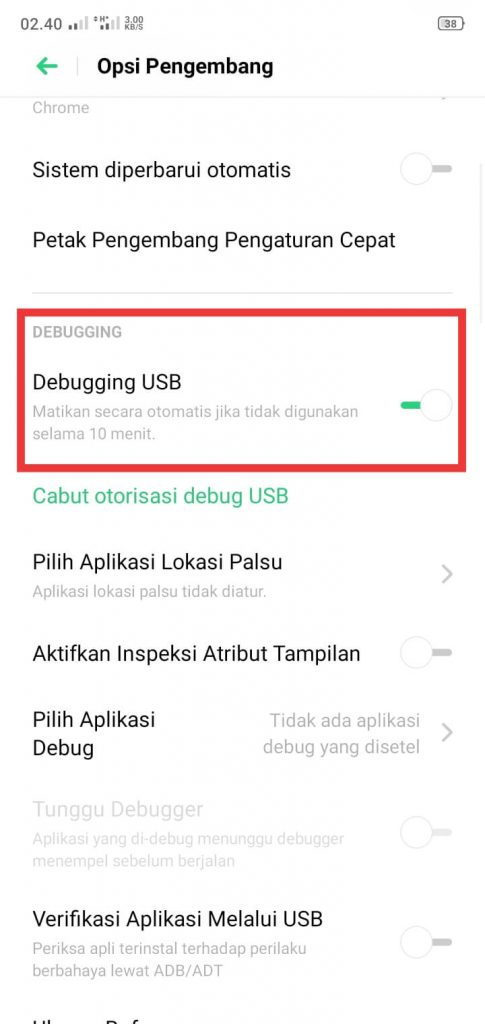 mengaktivkan mode usb debugging